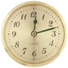 """3-9/16"""" Quartz Insert Clock Gold Bezel, Arabic, Gold Face 3"""" hole cut AA battery"""