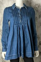 Free People XS Extra Small Baby Blues Robin's Denim Tunic Half Button Shirt