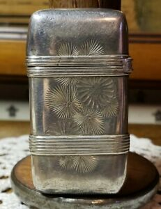 Antique Whiting Sterling Silver Vesta Match Case Pine Needle Pinecone Design