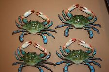 (4) Seafood Restaurant Crab Decor Realistic Blue Crab Replicas, 3-D, 9 inch