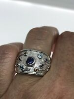 Vintage Blue Sapphire Ring 925 Sterling Silver Citrine Size 5.5
