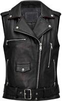 Womens Black Brando Motorcycle Genuine Leather Vest - Sleeveless Jacket SALES