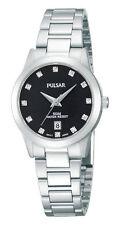 Pulsar By Seiko PH7277X1 Women's Steel Black Face Swarovski Crystal Date Watch