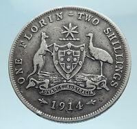 1914 AUSTRALIA - UK King George V Kangaroo Silver Florin Australian Coin i78278