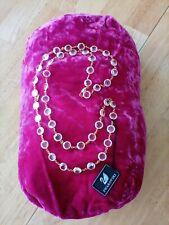 "Bezel Crystal 36"" Necklace Swarovski Faceted Gold Tone Clear"
