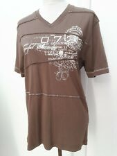 F&F Mens Size S Brown White Layer Print T Shirt Top Summer Fashion Wear Small