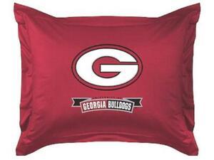 NEW Univ. of Georgia Bulldogs Jersey Sham with Banner LR White G