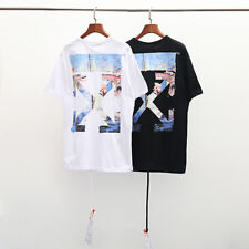 6103f49595cd Unisex Off White Oil Painting Arrow Hip-hop Sports Cotton T-shirt Tee Tops