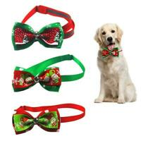 Christmas Dog Collar Bow Tie Gift Pet Safety Adjustable Neck Straps X1R0