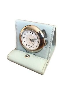 Montblanc Boheme Blue Leather Travel Alarm Quartz Desk Clock