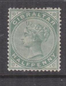 GIBRALTAR, 1886 QV 1/2d. Dull Green, heavy hinged mint.