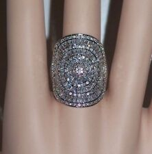 size 10 STUNNING RHODIUM EP CONCAVE SHIELD & PAVE STATEMENT RING CZ - 30mm LONG