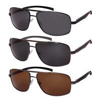 Large fit Polarized Sunglasses for Men Aluminum Rectangular Frame Spring Hinge
