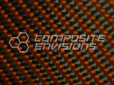 "Carbon Fiber Panel Made with Kevlar Orange .122""/3.1mm 2x2 twill-EPOXY-12""x24"""