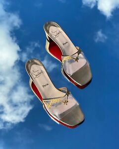 Christian Louboutin Gold Leather Clear PVC Embroidered Low Heel Mule Sandal 37.5
