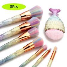8PCS Makeup Brushes Eyeshadow Eyeliner Fish Tail Diamond Unicorn Powder Kit