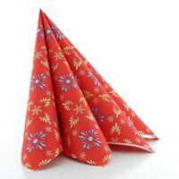 Serviette Scarlett in Rot-Blau aus Linclass® Airlaid 40x40cm,50 Stück Weihnacht
