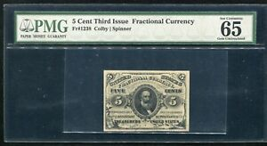 FR. 1238 5 CENT THIRD ISSUE FRACTIONAL CURRENCY NOTE PMG GEM UNC-65EPQ