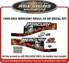 1999 - 2004 MERCURY Flame Skull 40 HP  Reproduction Outboard Decal kit  50 60 HP