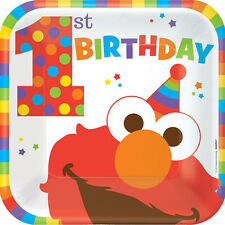 SESAME STREET Elmo Turns One LARGE PAPER PLATES (8) ~ Birthday Party Supplies