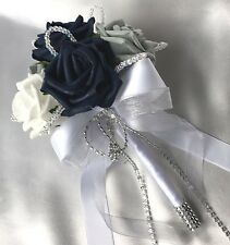 FLOWERGIRLS POSY, NAVY BLUE, WHITE & GREY ROSES,  ARTIFICIAL WEDDING FLOWERS