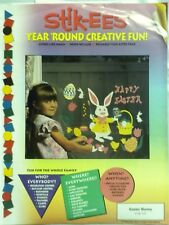 """Stik-EES Easter Bunny Chick Egg Basket """"Happy Easter"""" Window Clings Reusable NEW"""