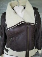 MEMBERS ONLY Women's Brown Tan Sherpa Lined Zip - Up Bomber Jacket Size Medium
