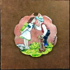 Vintage Signed Mid Century Enamel on Copper- Boy and Girl Kissing
