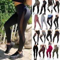 Womens High Waist Yoga Pants Fitness Mesh Leggings GYM Sports Push up Stretch US