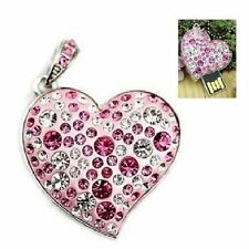 Chiavetta USB 8 GB Cuori Strass Ciondolo Catena Gioiello Corazón rosa argento