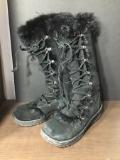 Bear Paw Black Suede, Sheepskin Footbed Lace Up Boots, Womens Size W8