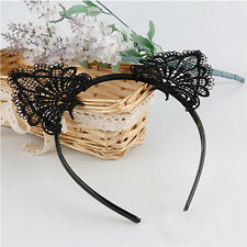 Black Lace Cat Ears Headband Animal Party Costume Hair Head band Hair Accessory