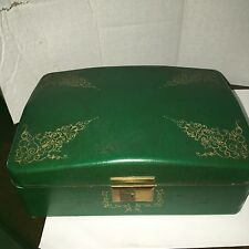 Farrington Texol Jewelry Box Vintage Green Leather with green velvet interior.