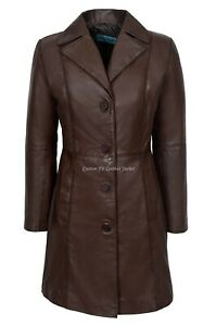 Ladies Real Leather Jacket Brown Classic Knee-Length Lambskin Designer Coat 3457