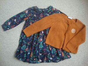 Next baby girl's woodland dress and cardigan age 18-24