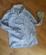old navy boys long sleeve dress button down shirt blue and white striped size L