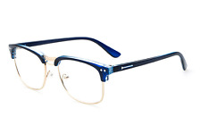 Myopia Men Women Half Rimless Glasses Eyeglass Frames Vintage Rx Blue+Gold
