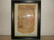 VINTAGE HOWDY DOODY ICE CREAM WRAPPER IN A FRAME--SIGNED.
