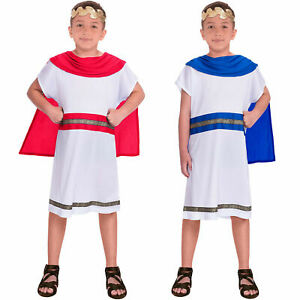 Boys Greek God Caesar Costume Child Toga Fancy Dress Book Day Week Outfit Kids