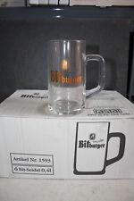 6 Bitburger Bierkrüge mit Henkel 0,4 Liter Biergläser