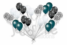 24 pc Elegant Damask Black White Clear Teal Latex Balloons Party Decoration Baby