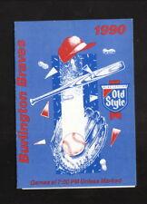 Burlington Braves--1990 Pocket Schedule--Old Style