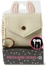 Bunny Earbud Holder/Pouch Snap Cream/ Beige Color W/Bunny Ears With Keychain NEW