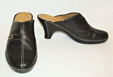 Women's Cole Haan Black Leather Slip On Mules Clogs Heels Shoes - Size 7 1/2 B
