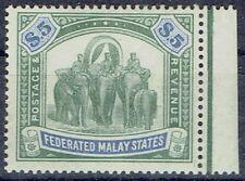 Malaysia Federated Malay States 1904/22 $5 green & blue fine mint
