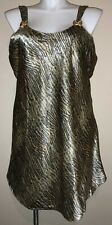 Sexy~Brown/Gold/Black~ Satin~ Shiny~ Short Gown Nightgown~2X~Animal Print~�