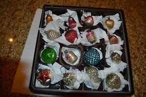 16 SMALL ANTIQUE FEATHER TREE CHRISTMAS ORNAMENTS - MIXED SHAPES