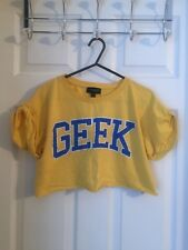 *VGC* TOPSHOP Bright Yellow/Blue GEEK Crop Top/Tee/T-Shirt UK Size S/M