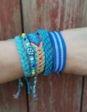 Woven Friendship Bracelets Set of 5 Beaded Cotton Knotted Wristband Blue