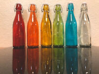 6 Piece Set Of Colored Glass Bottles Complete Set 11 Inches